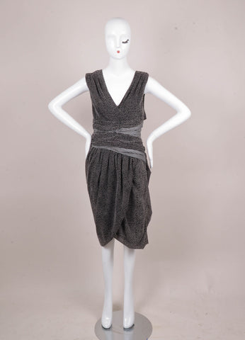 Black and Grey Thakoon Dotted and Striped Sleeveless Cut Out Dress
