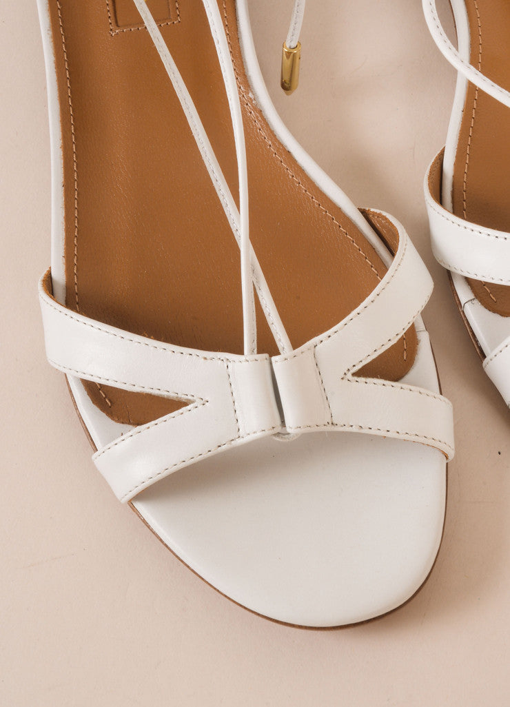 "Aquazzura New In Box White Leather Lace Up ""Beverly Hills"" Flat Sandals Detail"