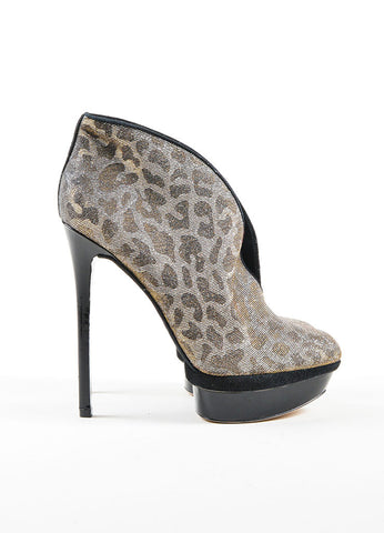 "Metallic Leopard Print B Brian Atwood Platform Heeled ""Fortosa"" Booties Sideview"