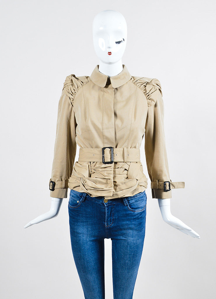 Burberry Prorsum Khaki Cotton Ruched Knot Snap Front Belted Jacket Frontview