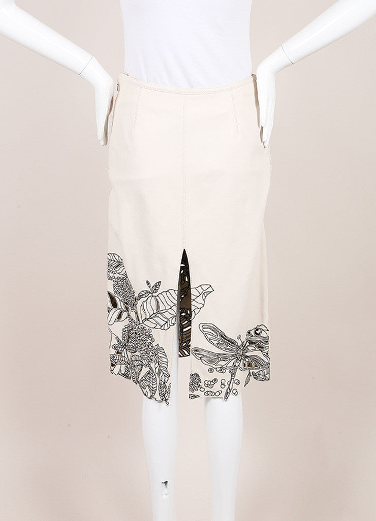 Catherine Malandrino Beige and Black Leather Embroidered Laser Cut Pencil Skirt Backview
