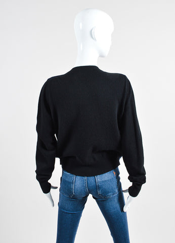 Black and Cream Celine Wool and Cashmere Cardigan Sweater with Built In Shell Backview