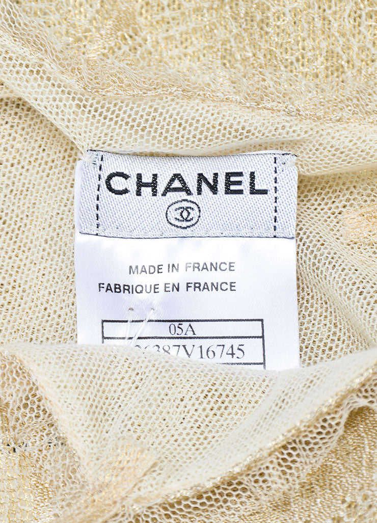 Metallic Gold Chanel 05A Beige Lace 'CC' Button Tank Brand