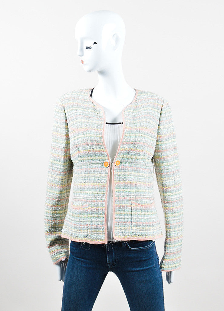 "Multicolor Pastel Silk Blend Ribbon Chanel ""CC"" Jacket Frontview 2"