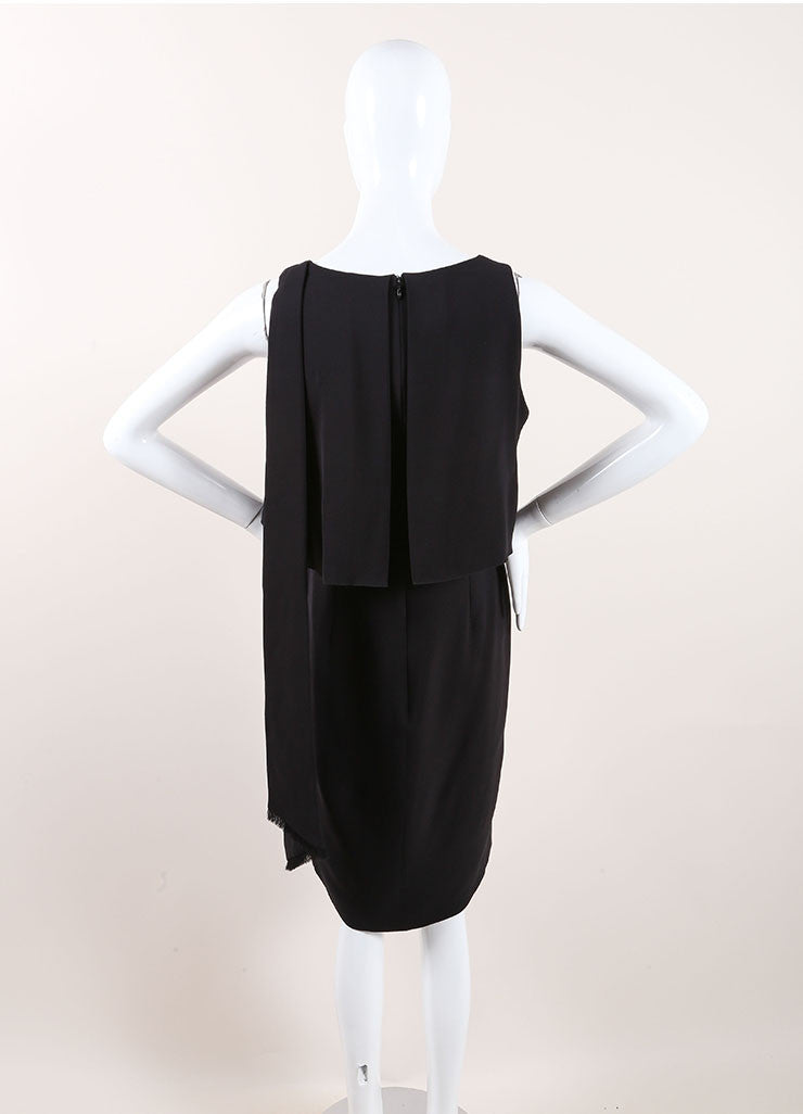 Chanel Black Silk Tiered Sleeveless Drape Dress Backview