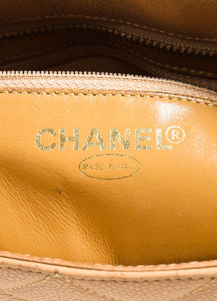 "Chanel Beige Quilted Caviar Leather 'CC' Logo ""Medallion Tote"" Bag Brand"