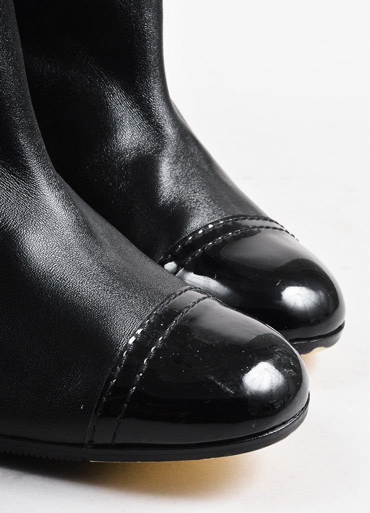 Chanel Black Leather Cap Toe Paneled Block Heel Over The Knee Boots Detail