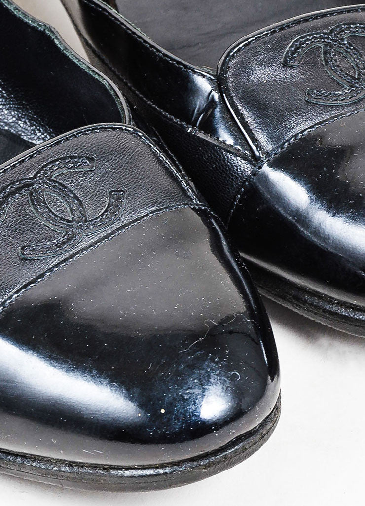 Black Chanel Patent Leather Cap Toe 'CC' Low Heel Loafers Detail