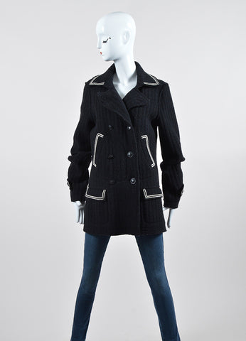 Black and White Chanel Wool Double Breasted Coat Frontview