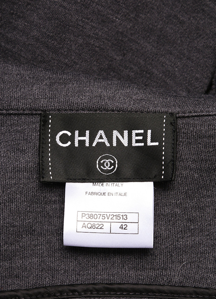 Chanel Grey Wool Moto Zip Up Jacket Brand
