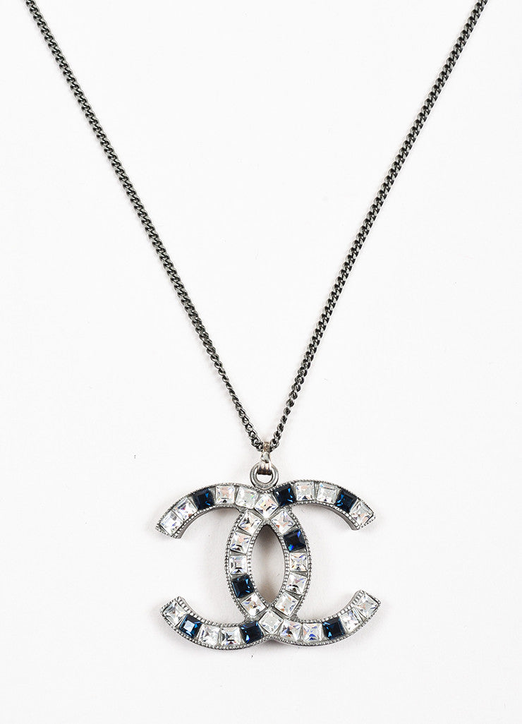 Chanel Silver Toned and Blue Metal Rhinestone Embellished 'CC' Pendant Necklace Detail