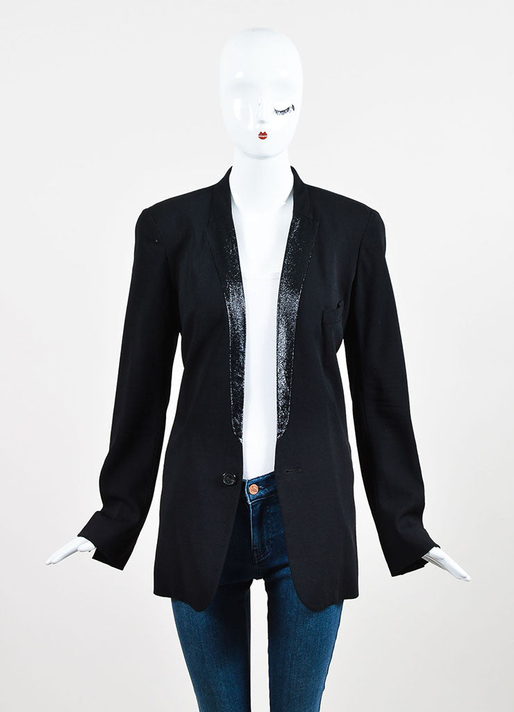Black Chloe Crepe Wool Metallic Lapel Button Up Blazer Jacket Front