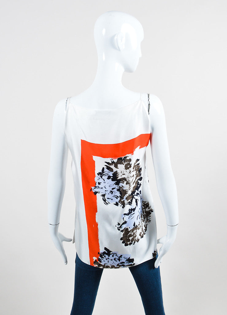 White and Multicolor Christian Dior Floral Print Silk Slit Tank Top Backview