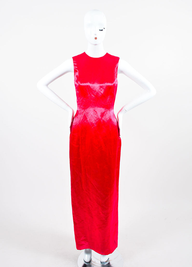 Fuchsia Christian Dior Fitted Floor Length Shiny Satin Sleeveless Gown Frontview