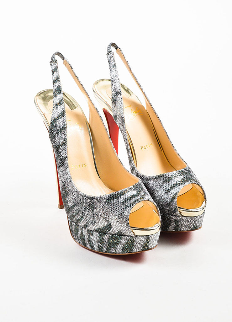 "Silver and Green Glitter Christian Louboutin ""Lady Peep"" Sling Pumps  Frontview"
