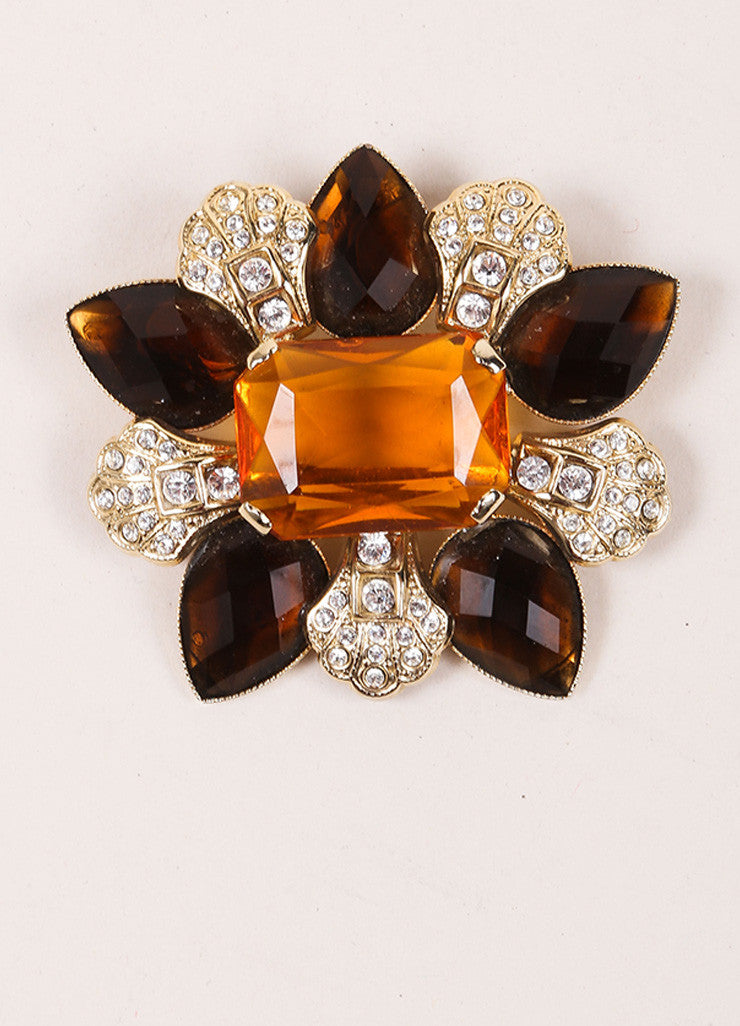Dolce & Gabbana Brown and Gold Toned Rhinestone and Gem Embellished Pin Brooch Frontview