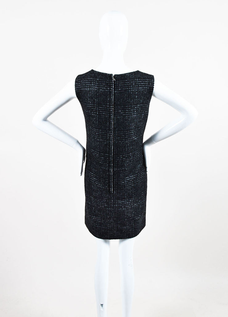 Dolce & Gabbana Grey Wool Sleeveless Jewel Neck Shift Dress Backview
