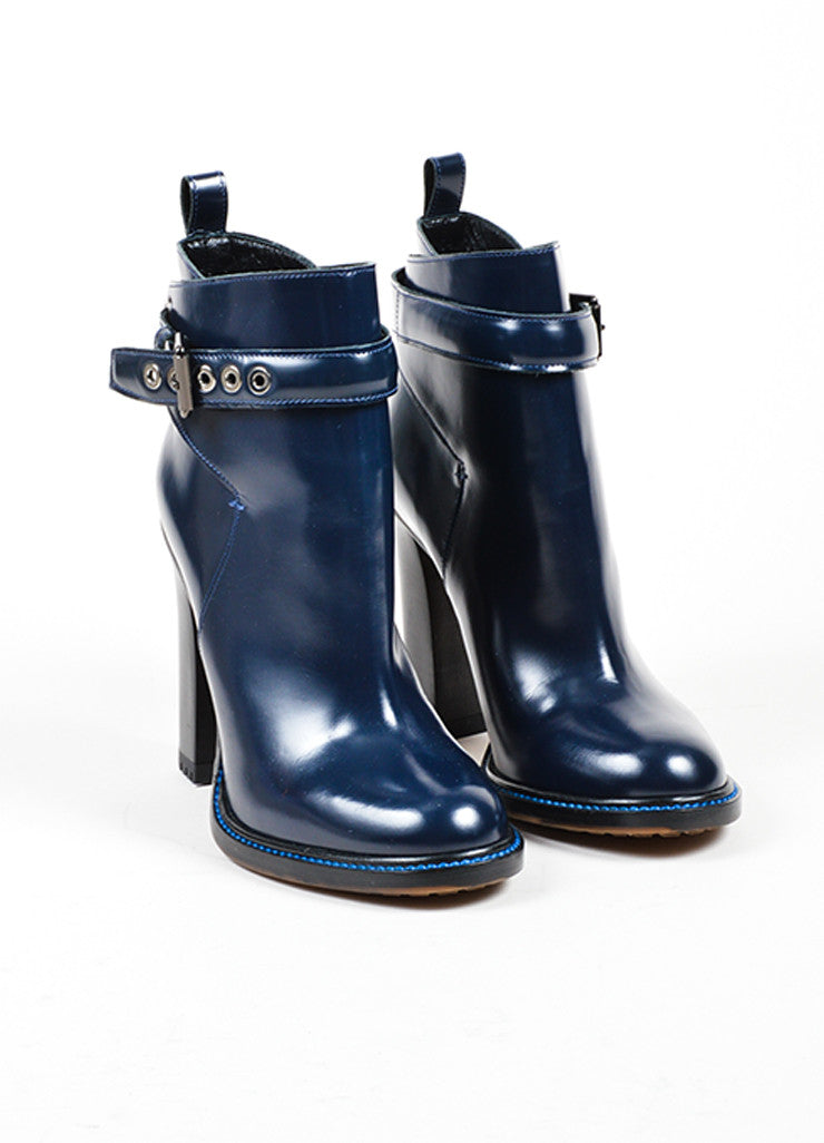 Etro Navy Polished Leather Buckle Stacked Heel Ankle Boots Frontview