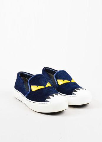 "Fendi Navy Calf Hair Leather Trim ""Buggies"" Slip On Platform Sneakers Frontview"