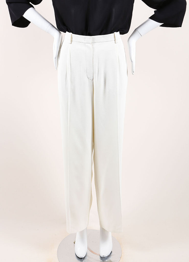 Hermes Cream Silky Pleated Wide Leg Dress Pants Frontview