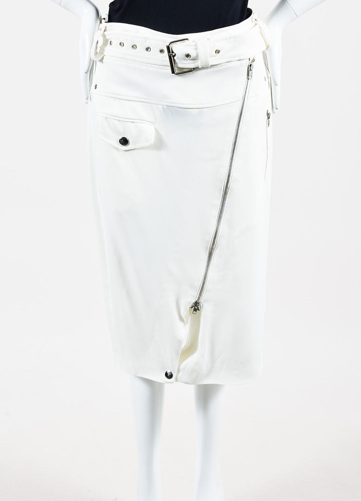 White Jean Paul Gaultier Cargo Moto Zip Pencil Skirt Front