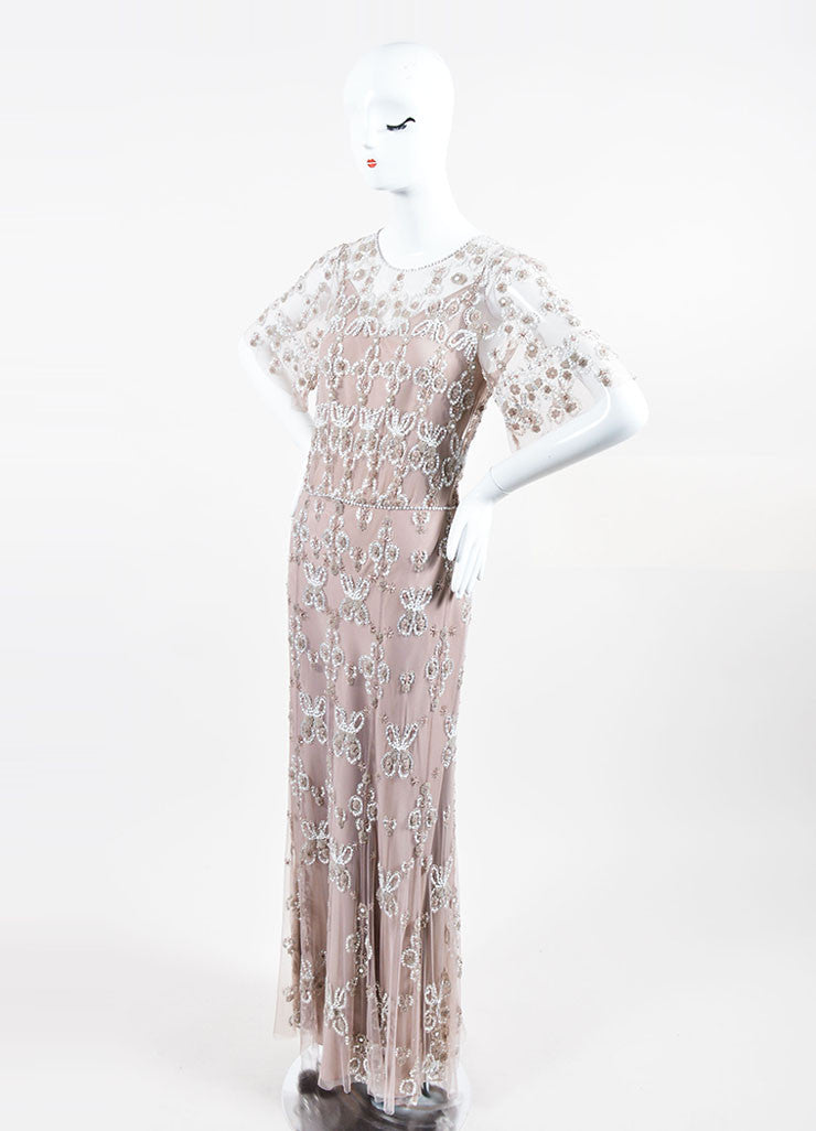 Taupe and White Jenny Packham Beaded and Sequined Short Sleeve Floor Length Gown Sideview