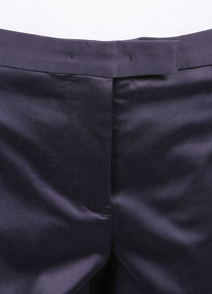 "Jil Sander New With Tags Navy Sateen Cotton Straight Leg ""Daniel"" Trousers Detail"