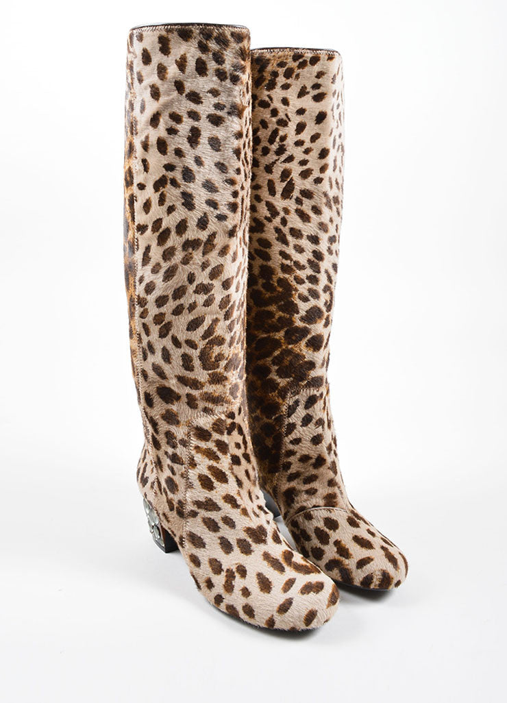 Lanvin Multi-Brown Pony Hair Leopard Print Heeled Boots Frontview