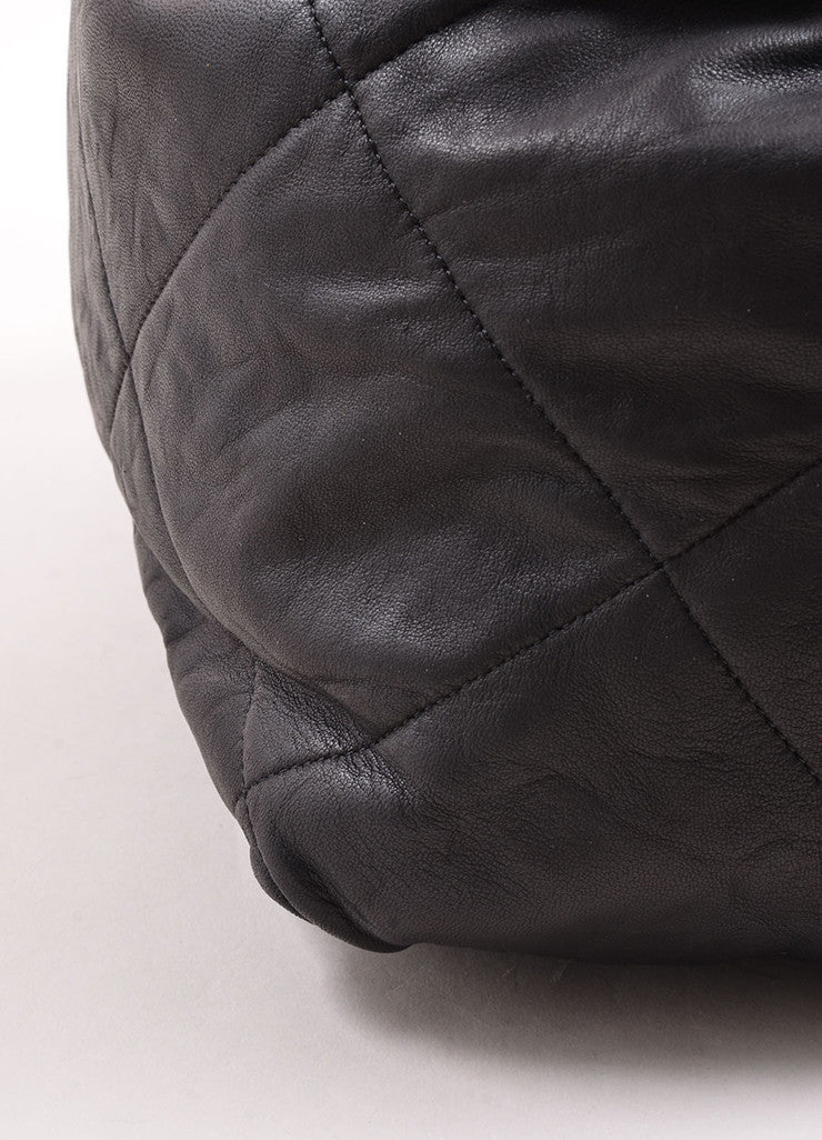 "Lanvin Black Quilted Leather ""Amalia"" Bucket Bag Detail"