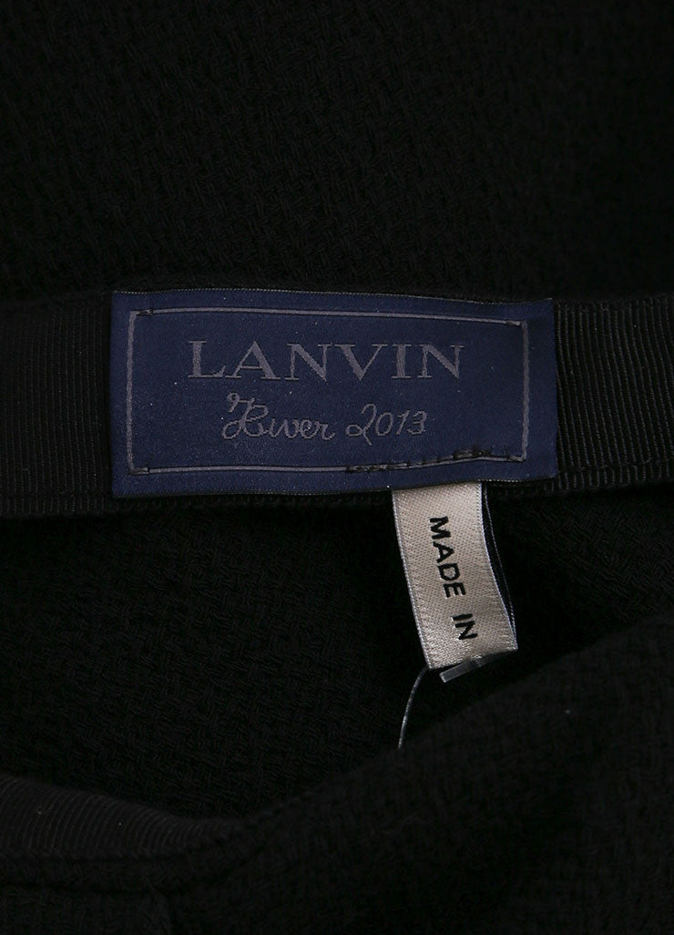 Lanvin New With Tags Black Wool Blend Fringe Hem Draped Long Skirt Brand