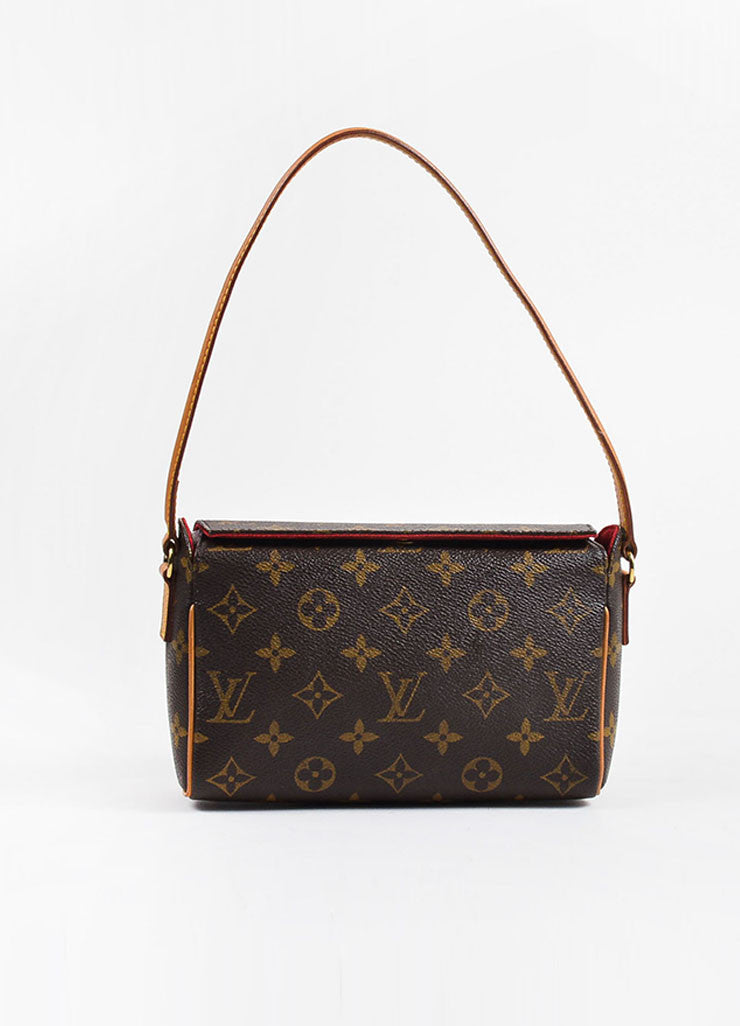 "Louis Vuitton Brown and Tan Coated Canvas Monogram ""Recital"" Shoulder Snap Bag Frontview"