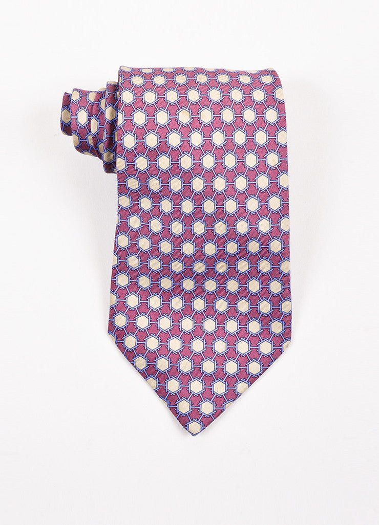 Men's Hermes Purple, Blue, and Beige Silk Geometric Print Necktie Frontview