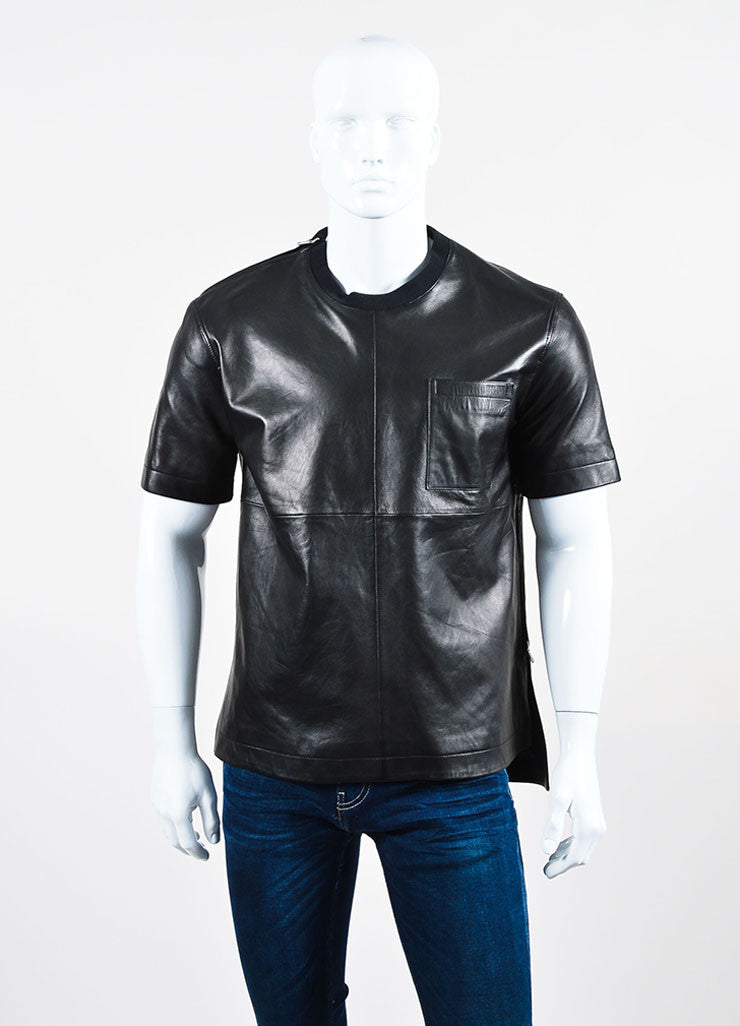 Men's Givenchy Black Leather Zipper Accent Tee Shirt Frontview