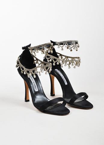 "Black Manolo Blahnik Satin Crystal Ankle Strap ""Hourista"" Sandals Frontview"