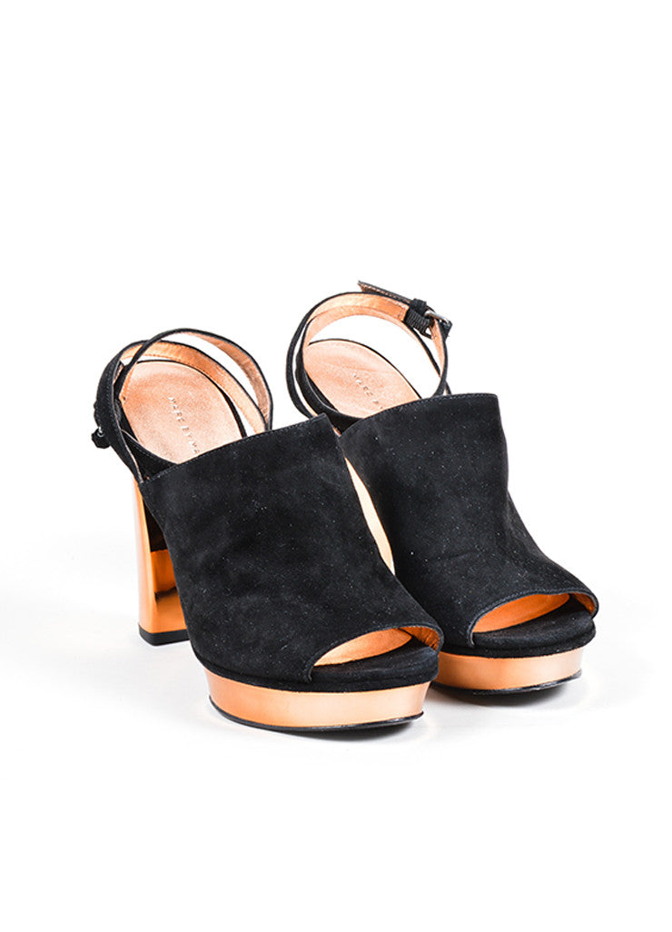 Marc by Marc Jacobs Black and Rose Gold Suede Platform Slingback Chunky Heels Frontview