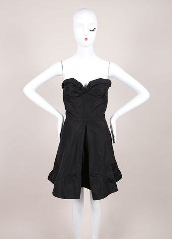 Miu Miu Black Grosgrain Structured Pleated Stapless Corset Flare Dress Frontview