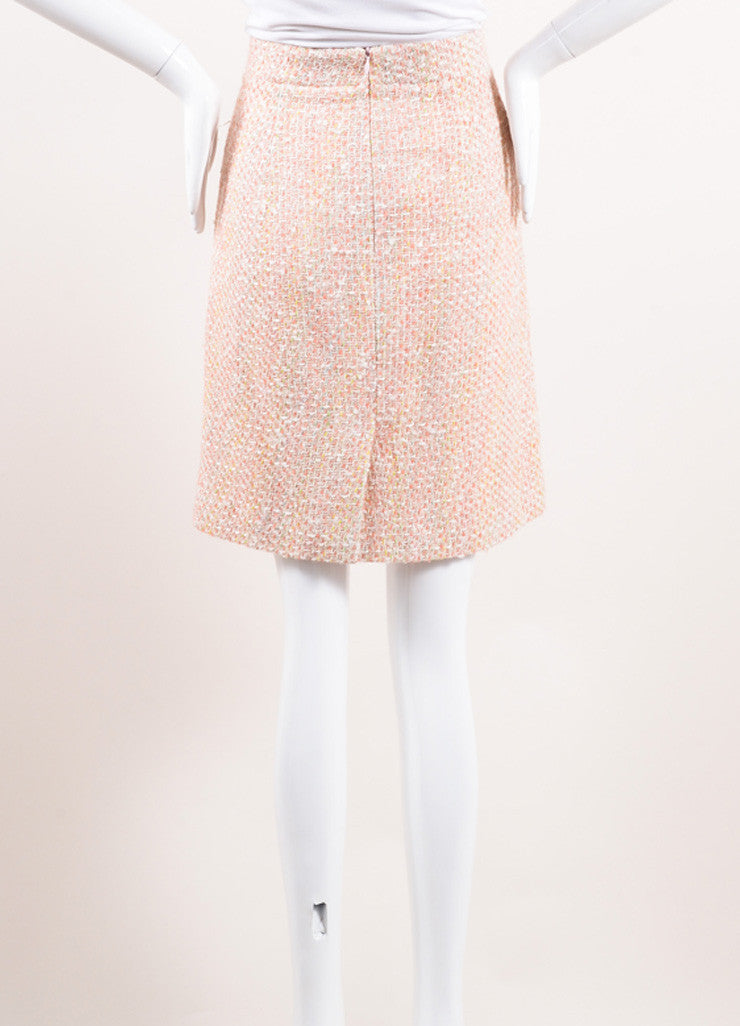 Monique Lhuillier Pink and Cream Wool and Cotton Tweed Skirt Backview