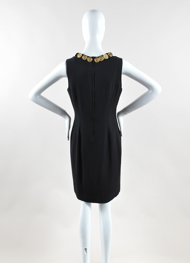 Moschino Cheap and Chic Black Crepe Coin Medallion Sleeveless Sheath Dress Backview