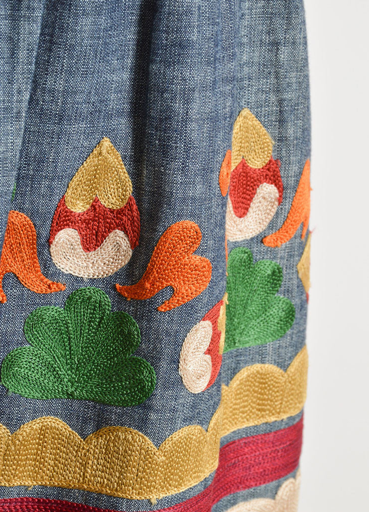 Oscar de la Renta Denim Blue and Multicolor Cotton and Silk Embroidered Skirt Detail