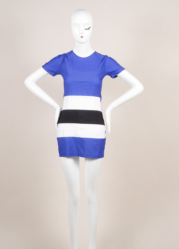 Pret a Surf Blue, White, and Black Stripe Short Sleeve Swim Cover Up Dress Frontview
