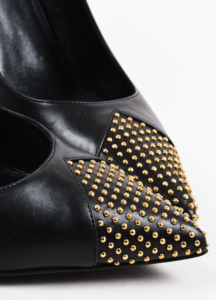 Black and Gold Toned Saint Laurent Leather Tiny Stud Pointed Pumps Detail