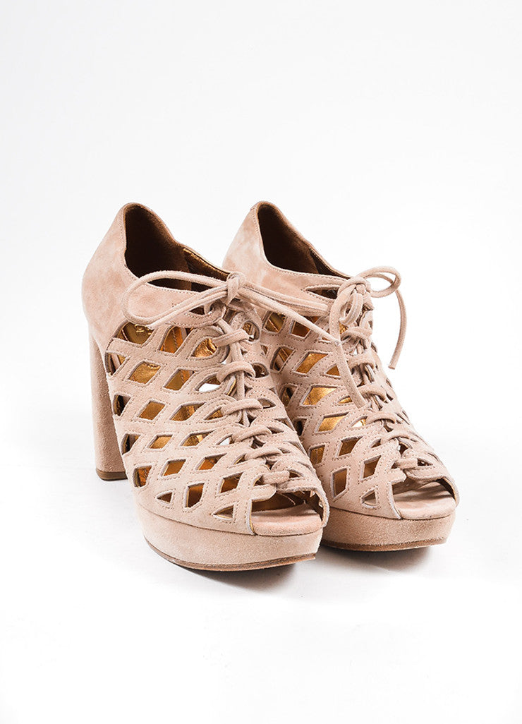 See by Chloe Nude Suede Cut Out Platform Open Toe Heels Frontview