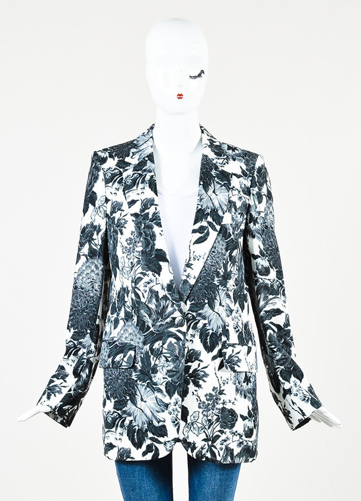 Stella McCartney White, Black, and Grey Jersey Floral Blazer Jacket Frontview 2