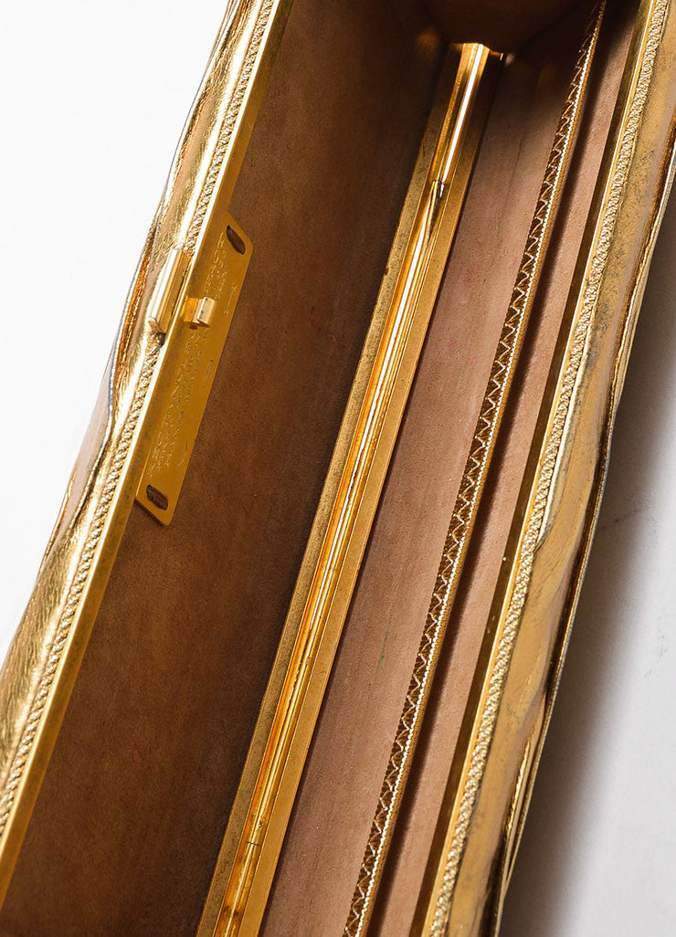 VBH Metallic Gold Leather Rectangular Compact Clutch Bag Interior