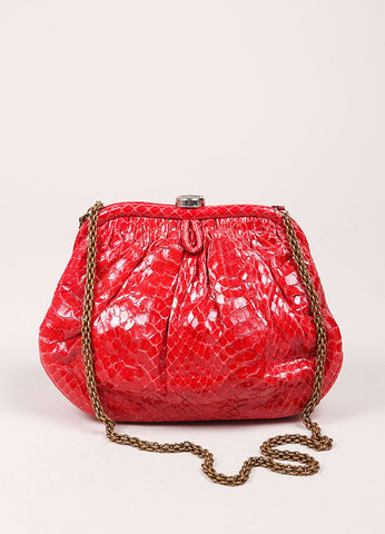 Chanel Red Python Clutch Bag  Frontview