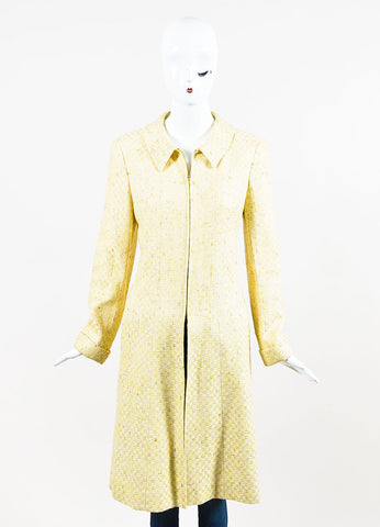 Chanel Yellow and White Tweed Zipped Front Split Long Structured Coat Frontview 2