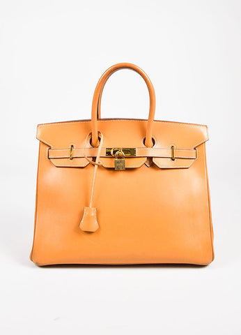"Hermes ""Natural"" Tan Box Calf Leather Top Handle ""Birkin"" 35cm Bag Frontview"