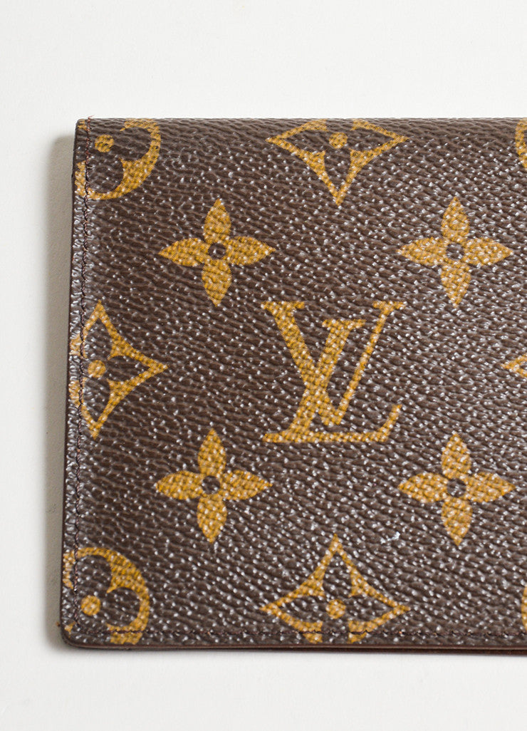 Brown Louis Vuitton Monogram Canvas Checkbook Wallet Detail 2