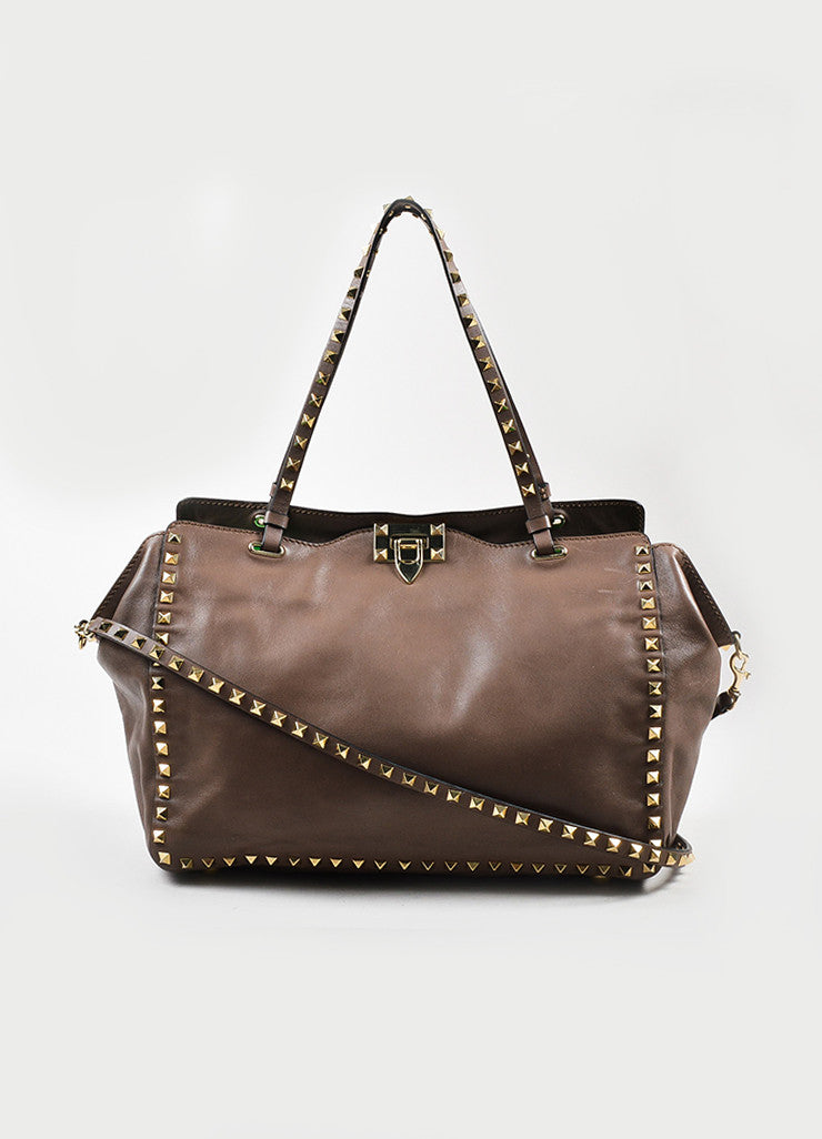 Valentino Taupe Leather Gold Toned Rockstud Medium Tote Bag Frontview