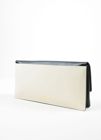 Black and White Two Toned Valentino Leather Rectangle Clutch Bag Sideview